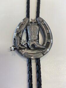 "Horseshoe Cowboy Boot Bolo Tie Western Silver Tone Adjustable 36"" Cord USA Made"