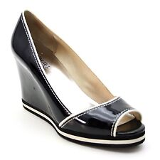 023949ea12eb Michael Kors Ladies 7.5 M Black Patent Leather Peep Open Toe Wedge High  Heels