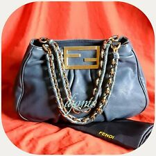 Fendi Mia 8BR615 Blue Gray Textured Leather Small Tote Chain Bag