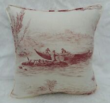 Zoffany Fabric Cushion Cover 'THE BOATMAN' Red Toile Design - Linen Blend