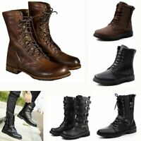 Punk Mens Combat Boots Fashion Leather High-Top Lace-up Motorcycle Martin Shoes