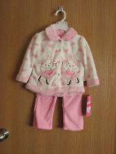 NWT Young Hearts Girls' Toddler 2 Piece Pink Bunnies Fleece Set Faux Fur 18M
