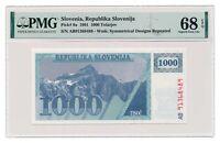 SLOVENIA banknote 1000 Tolarjev 1991 PMG MS 68 Superb Gem Uncirculated