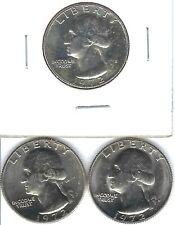 1972-S 25C Proof Washington Quarter with Brilliant Uncirculated D & P (3 Coins)!