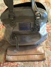 COACH POPPY Spotlight Sequins Large LT ED Satchel Opal Pearl #16303 W Wallet