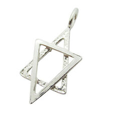 925 Silver Fancy Small Star of David Magen David Polished & Hammered Pendant