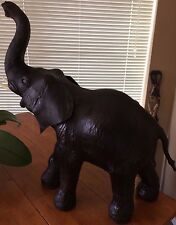Large Leather African Elephant / Trunk Up Tusks Wild Jungle Animal Statue