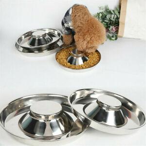 Stainless Steel Pet Dog Bowl Puppy Litter Food Feeding Dish Feeder Water Bowl