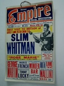 ORIGINAL SHOW POSTER CARD.....1950's...(Liverpool)...SLIM WHITMAN and others