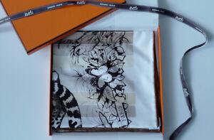 Hermes Jungle Love Rainbow Silk Scarf 90cm In Maroon/ Beige/ Blanc