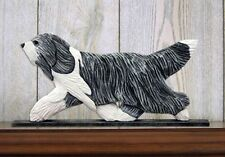 Bearded Collie Figurine Plaque Display Wall Decoration Blue
