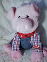 "Cuddle Barn Farmer Oink Pig Plush 12"" Animated Old MacDonald Song"