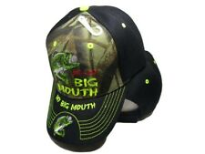 Me & My Big Mouth Fishing Bass Camouflage Black Bill Embroidered Cap Hat 924A