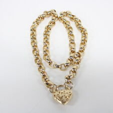 9ct Yellow Gold Hollow Belcher Chain Necklace with Heart Pendant #565
