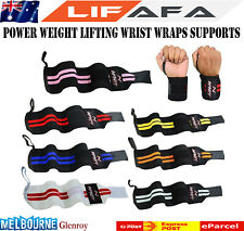 2x Weight Lifting Strength Training Gym Strap Gloves Hand Wrist Support Bandage