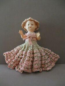 "ANTIQUE CELLULOID DOLL Czechoslovakia 8"" Hand Crocheted Dress & Bonnet - marked"