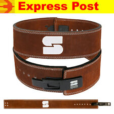 """WEIGHTLIFTING LEATHER POWER LEVER BELT BROWN 10mm THICK 4"""" WIDE BACK SUPPORT GYM"""