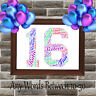 Personalised Word Art Birthday Gift Number 1st 16th 18th 21st 30th 40th 60th