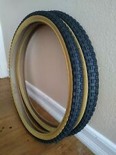 2- Tires Duro 24x1.75 old school style  black and Gum Bmx Bike