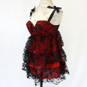 Cacique Lane Bryant Sexy Nightie Lace Red & Black Babydoll Chemise Thong 14/16