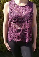 Size 16 Dorothy Perkins purple crochet vest top with sequins cover up festival