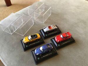 Cararama Cars X4 Porsche, 911 Convertible, Coupe, GT2,550A, 1/73 Display Models