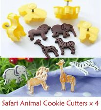 Zoo Jungle Safari Cookie Cutters (x4)  Biscuit Embossed Plunger Push Mold