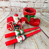 Vtg Christmas tapered Candles & stocking planter Snowman santa Decorations
