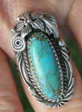 Vintage Navajo Native Sterling Silver Turquoise  Foliate Ring Size 9.5