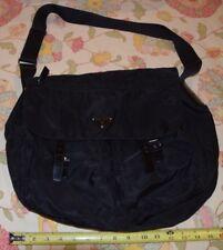 Prada Black Leather & Nylon Satchel Purse Shoulder Bag Tote Front Pockets