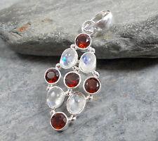925 silver RAINBOW MOONSTONE Red GARNET Pendant P258~Silverwave*uk Jewellery