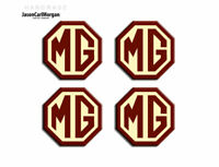 MG TF Car Alloy Wheel Centre Caps Badges 45mm Logo Badge Burgundy Cream 4 Pack