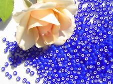 8/0 Czech Navy Blue White Heart  Glass Seed Beads Crafts Jewelry Making/1oz