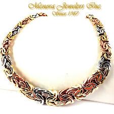 "20"" 14K TRI COLOR Gold BYZANTINE Collar Necklace Graduating 44.5g 3 Color"