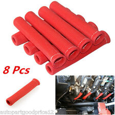 """8Pcs 6"""" Red 1200° SPARK PLUG WIRE BOOTS HEAT SLEEVE WRAP SHIELD PROTECTOR COVER"""