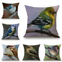 Car Home Decor Cushion Cover Bird Sofa Oil Pillow Case Cotton Linen Paintings