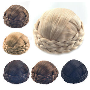 Lady Women Twist Braided Chignon Bun Clip in Hairpiece Updo Cover Hair Extension