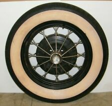 """VINTAGE FORD 18"""" WIRE SPOKE WHEEL WITH TIRE 4 LUG"""