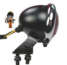 Schwarzes LED Motorrad Rücklicht Bates mit Chromring Bobber Chopper Rearlight