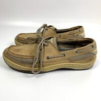 Mens Sperry Top Sider Boat Shoes Size 9.5M Two Eye Tan Leather 0771246