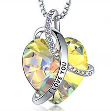I Love You with All My Heart yellow Zircon Pendant Necklaces Jewelry for Women