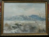 Original Oil Painting MOUNTAINS ANIMALS LANDSCAPE Framed, signed J.M. Gillers?