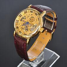 Herren SOKI Golden Analog Skelett Mechanische Handaufzug Leder Armband Uhr