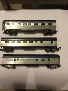 3 S Gauge 60 Ft Passenger Cars Metal Sides 2 Lit Link Couplers