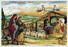 "Nostalgischer Adventskalender ""Herbergssuche"" religiöses Motiv, A4, Glimmer"