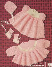 Vintage Baby Knitting Pattern Lacy Set ~ Coat Dress Bonnet