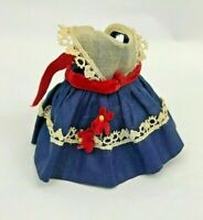Vintage Vogue Ginny Doll Tagged Dress Clothes Clothing Pinafore Navy Flowers
