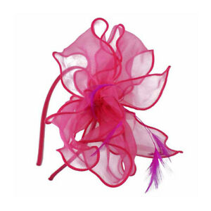 New Ladies Organza With Feathers Fascinator On Band