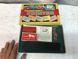 Vintage 1922 Handicraft Hand Stamp Printer Rubber Letters original box