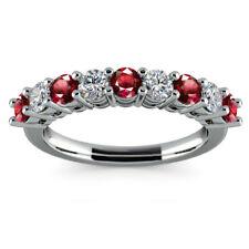 0.97 CT Red Ruby Gemstone Diamond Ring Fine 14K White Gold Rings Size J 1/2 K M